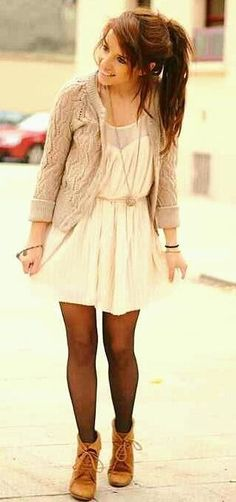 Fall + dress + tights + boots