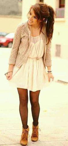 Fall dress + tights + boots