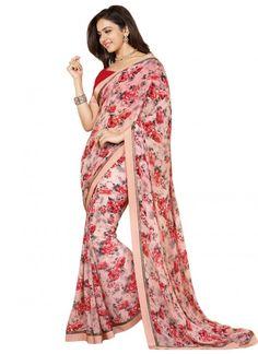 New Arrival Pink Weightless Flower Printed Designer  Saree  #saree #bandhejsaree #indiansaree #Designersaree #festivalwearsaree #casualsaree #heavyworkdsaree #latestsaree #partywearsaree  #fancysaree #printedsaree #cottonsaree #georgette saree #traditional