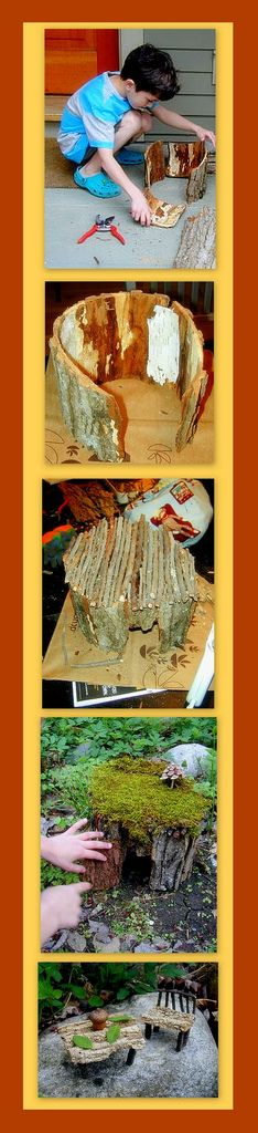 Note to self - Make these using the birch bark from FM! Little Homes for Little Folks By Alethea Morrison of North Adams, MA As a child, I would try to make gnome houses out of twigs and moss, always with rather disappointing results, but one of the bes… Fairy Garden Houses, Gnome Garden, Garden Art, Fairy Gardens, Miniature Gardens, Hobbit Garden, Fairies Garden, Dream Garden, Fairy Land