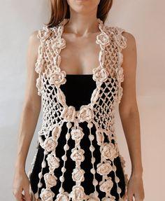 Vestido ganchillo vestido hippie marrón blanco negro por GlamCro