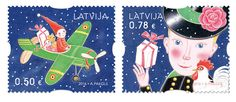 Christmas stamps latvia
