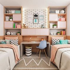 Teen bedroom themes must accommodate visual and function. Here are tips to create the coolest teen bedroom. Girl Bedroom Designs, Bedroom Themes, Girls Bedroom, Bedroom Decor, Teen Bedroom Colors, Twin Bedroom Ideas, Twin Girl Bedrooms, Kids Rooms, Room For Two Kids