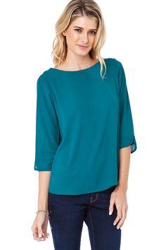 Finnea Blouse in Wave Green / ShopSosie #blouse #tops #basics #green #shopsosie