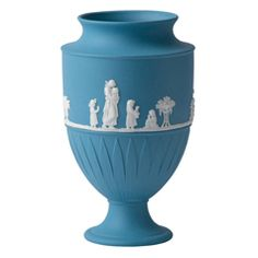 Wedgwood Jasper Classic White on Pale Blue Large Vase