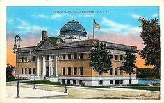 Rockford Illinois IL 1920s Public Library Collectible Antique Vintage Postcard