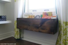 House Pretty Blog: Winter Pinterest Challenge: DIY book box; love this idea for under our big living room window.