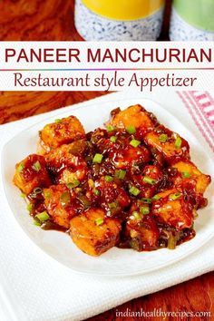 paneer manchurian is a Indo chinese appetizer made of fried paneer. paneer manchurian is a Indo chinese appetizer made of fried paneer. This restaurant paneer appetizer is quick to make & can also be served with noodles or fried rice. Healthy Chinese Recipes, Indo Chinese Recipes, Tasty Vegetarian Recipes, Veg Recipes, Curry Recipes, Seafood Recipes, Asian Recipes, Mexican Food Recipes, Appetizer Recipes