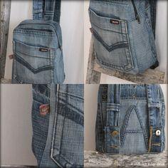Handkraft & Återbruk - Helgens färg fick bli denim by frances Outfit Jeans, Denim Decor, Jean Backpack, Jeans Refashion, Denim Vans, Maila, Summer Denim, Denim Crafts, Old Jeans
