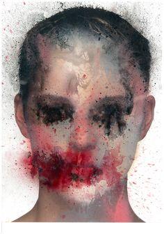 """MARCO REA """"Untitled"""", 2016 pittura spray su magazine. Dimensioni:30x40"""
