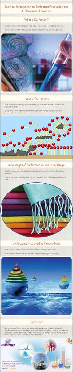 Find out more information on surfactants, its types and industrial applications. learn more about why surfactants are in high demand in several industries and know about Rimpro-India and its production of oil field chemicals. Kindly Visit - http://www.rimpro-india.com/surfactant.html