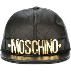 Moschino Quilted Cap ($475) ❤ liked on Polyvore featuring accessories, hats, black, black cap, caps hats, moschino, black sheep hat and black hat