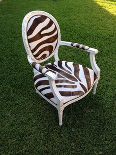 Vintage French Zebra Cow Hide Chair in Brown and by Element20, $395.00