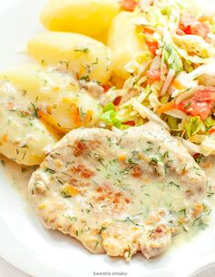 Schab w sosie koperkowym Cooking Recipes, Healthy Recipes, Polish Recipes, What To Cook, Risotto, Potato Salad, Dinner Recipes, Health Fitness, Food And Drink