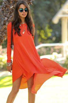 Chic Orange Dipped Hemline Her Chiffon Maxi Dress