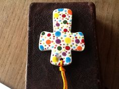 Spots and Dots Ceramic Cross - The Supermums Craft Fair
