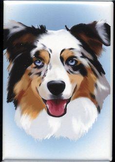 Australian Shepherd cute dog art magnet by rubenacker on Etsy, $4.75