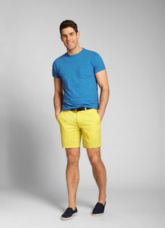 Yellow Seven-Inch Washed Chino Shorts for Men | Bonobos