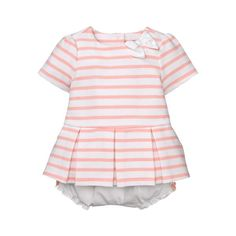 ed9d4ca770e0b Sale Petal Pink Stripe Pleated Striped Set by Janie and Jack. Bloomers:  Cotton Woven, Button Back, Includes Bloomer With Bows And Elasticized Waist  And ...