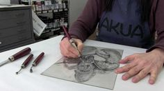 See up close how a drypoint plate is created and printed. Using a variety of drypoint tools, Susan Rostow, Inventor of Akua Inks creates her image on an Akua...
