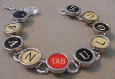 TYPEWRITER KEY BRACELET- FANTABULOUS - RED TAB Key Typewriter key jewelry
