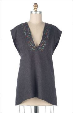 Over The Top Tunic – IJ823 sewing pattern from IndygoJunction.com shown using machine embroidery detail