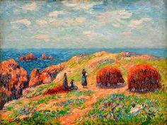 """Henry Moret, """"Falaises d'Ouessant"""", 1902, ce tableau représente des goémonières et des tas de goémon en train de sécher"""