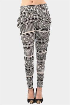 Tribal Baggy Pants - Black/White I love baggy pants lol