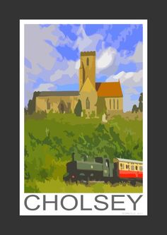 Cholsey Church and train to Wallingford, Oxfordshire (Art Print)