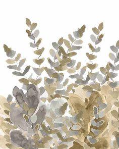 Gold and Silver Fern Garden Watercolor Art by OutsideInArtStudio, $18.00