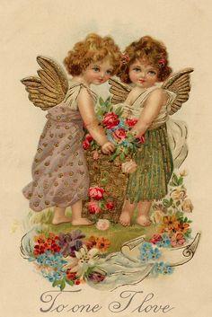 Vintage postcard, To one I love!,,very sweet