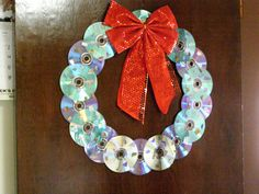 cds and dvds into a wreath