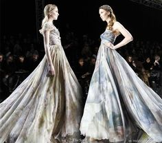 Painterly and flowy - Dresses with a painted on fabric effect by womenswear designer Elie Saab at Spring/Summer Haute Couture 2010 fashion show in Paris