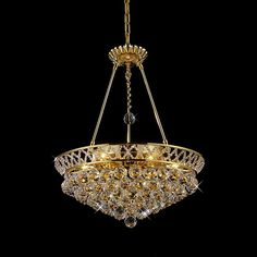 Joshua Marshal Home Collection Flush Mount or Hanging Crystal Chandelier (Gold Frame)