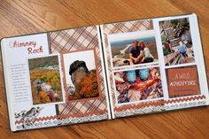 I like the patterned paper in the inside of the papers, and plan on the outside. Nice fall colors too Love Scrapbook, Vacation Scrapbook, Scrapbook Titles, Scrapbook Sketches, Scrapbook Page Layouts, Scrapbook Cards, Scrapbooking Ideas, Picture Layouts, 6 Photos