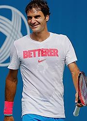 """Aug 2014 Federer is betterer Love this 'slogan'. Many folks didn't understand it.  Nike's take from """"Federer"""". Also per German tennis fan in Halle Germany, 'federer' is an ancient German word for 'trader of feathers'!!!!!!!!! Is that not so ironic? Roger floats around the tennis court so light on his feet, floating around like a feather!!!!!"""