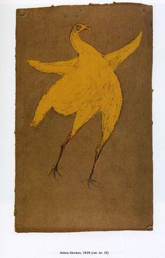 Bill Traylor (1854-1949). Yellow Chicken. Circa 1939.