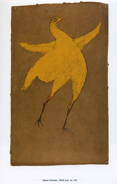 Bill Traylor (1854-1949). Yellow Chicken. Circa 1939.