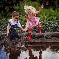 Jumping in mud puddles...