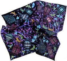 "100% silk scarf black purple square ""I changed my mind"""