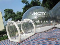 Clear inflatable tent for stargazing.