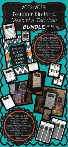 FREEBIE until 6/19! It's 110 Pages! 2013-2014 Teacher Binder and Meet the Teacher Bundle! Amazing!!  Many Printables! Wow!