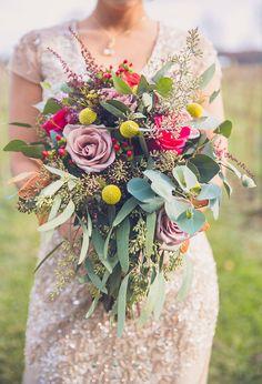purple pink and yellow bouquet @weddingchicks