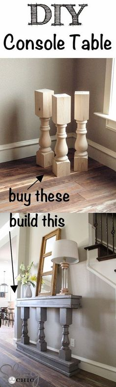 Coffee table legs to make thick tall candle holders.  Stain dark, white wash with chalk paint.
