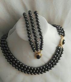 Hematite Necklace, Stone Necklace, Beaded Necklace, Brass Jewelry, Pendant Jewelry, Bullet Jewelry, Geek Jewelry, Gothic Jewelry, Jewelry Necklaces