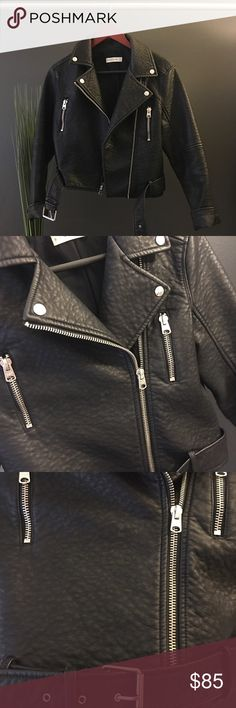 Abercrombie & Fitch Faux Leather Moto Jacket Cool with an edge! Soft textured faux leather with asymmetrical zipper closure, zipper pockets (near the chest) and belted bottom. Worn once! Sorry, no trades!  Abercrombie & Fitch Jackets & Coats