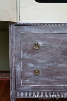 Chalk paint dry brushing antique chest