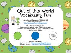 Out of this World Vocabulary Fun. Activities to focus on the first three beads of the EET strand. $