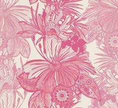Hula Fushsia (W0025/01) - Clarke & Clarke Wallpapers - An all over floral design in very fine detailing and funky patterns. Showing in two shades of pinks on a off white background - other colour ways available. Please request a sample for true colour match. Paste-the-wall product.