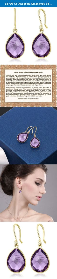 13.00 Ct Faceted Amethyst 16x12mm Pear Shape Gold Plated Silver Dangle Earrings. This beautiful item is brand new and comes with complimentary gift packaging appropriately selected to match the item you purchased. The packaging ranges from dainty foam insert packaging to luxurious leather insert cherry wood boxes. Every order is fully insured regardless of value. This insurance protects you against damage or the loss of your item while in transit. The Shipping and Handling fees include…